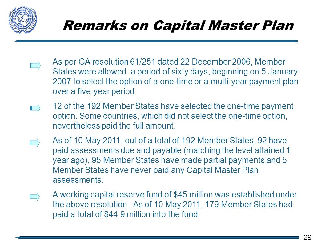 Remarks on Capital Master Plan As per GA resolution 61/251 dated 22 December 2006, Member States were allowed a period of sixty days, beginning on 5 January 2007 to select the option of a one-time or a multi-year payment plan over a five-year period.