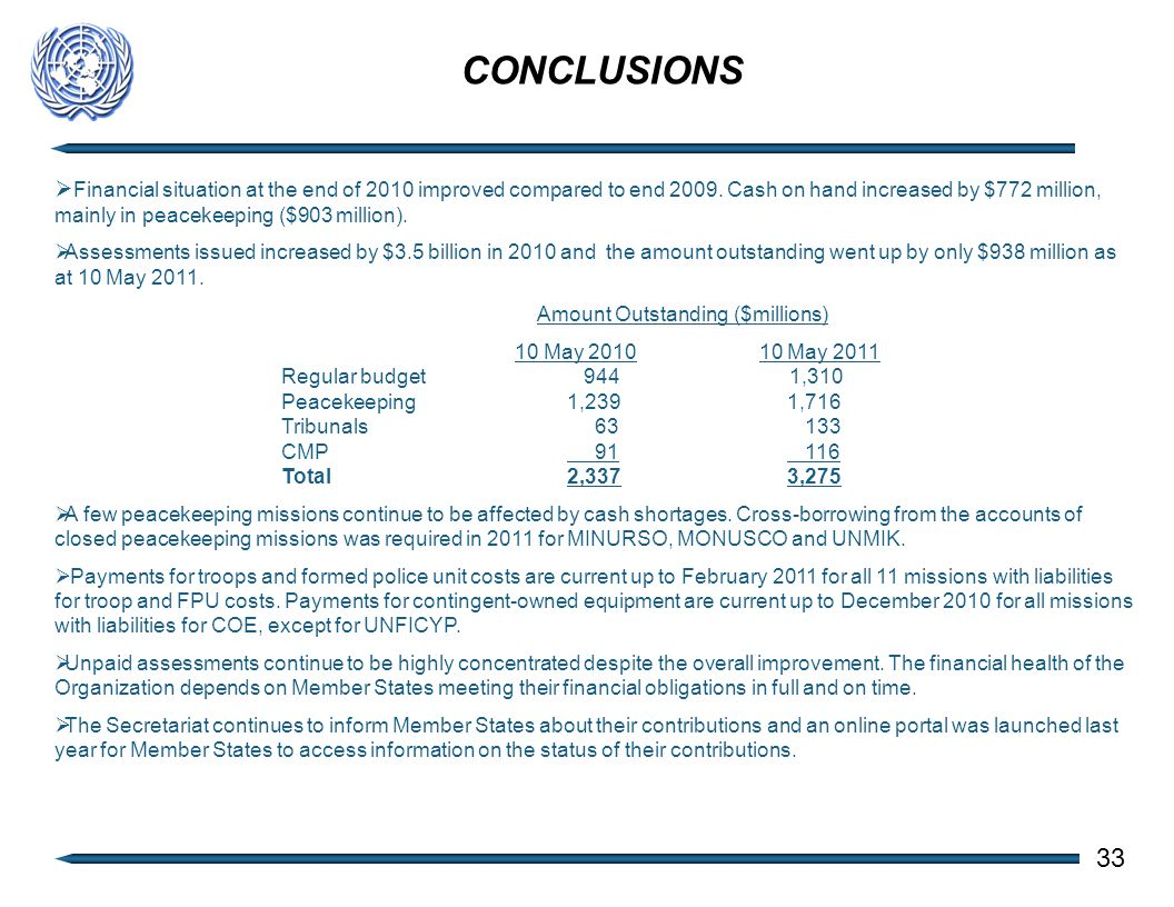 CONCLUSIONS 33  Financial situation at the end of 2010 improved compared to end 2009.