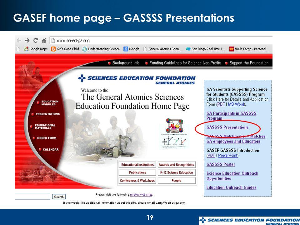 GASEF home page – GASSSS Presentations 19