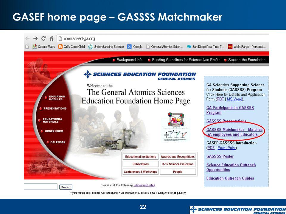 GASEF home page – GASSSS Matchmaker 22
