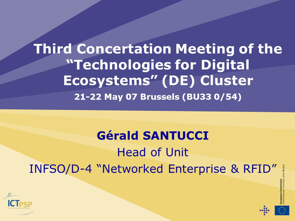 Gérald SANTUCCI Head of Unit INFSO/D-4 Networked Enterprise & RFID Third Concertation Meeting of the Technologies for Digital Ecosystems (DE) Cluster 21-22 May 07 Brussels (BU33 0/54)