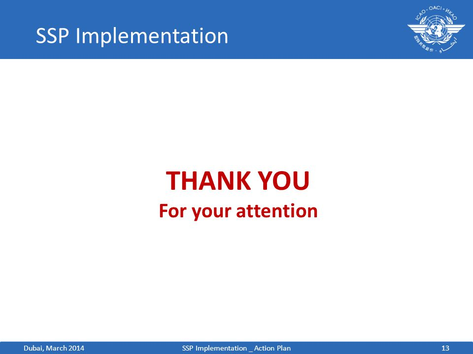 13 SSP Implementation SSP Implementation _ Action Plan THANK YOU For your attention Dubai, March 2014