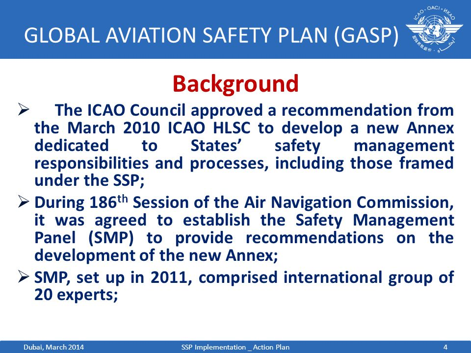 4 GLOBAL AVIATION SAFETY PLAN (GASP) Background  The ICAO Council approved a recommendation from the March 2010 ICAO HLSC to develop a new Annex dedi