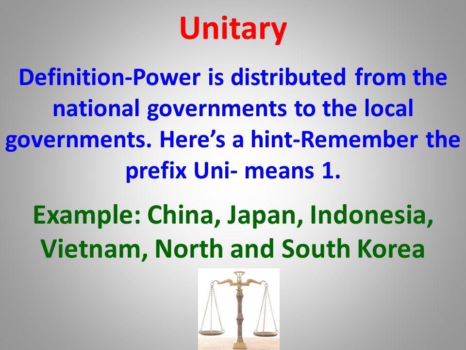 National govt. Unitary-Illustration Ways Government Distributes Power Local govt.