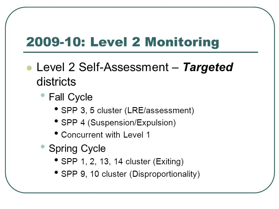 2009-10: Level 2 Monitoring Level 2 Self-Assessment – Targeted districts Fall Cycle SPP 3, 5 cluster (LRE/assessment) SPP 4 (Suspension/Expulsion) Concurrent with Level 1 Spring Cycle SPP 1, 2, 13, 14 cluster (Exiting) SPP 9, 10 cluster (Disproportionality)