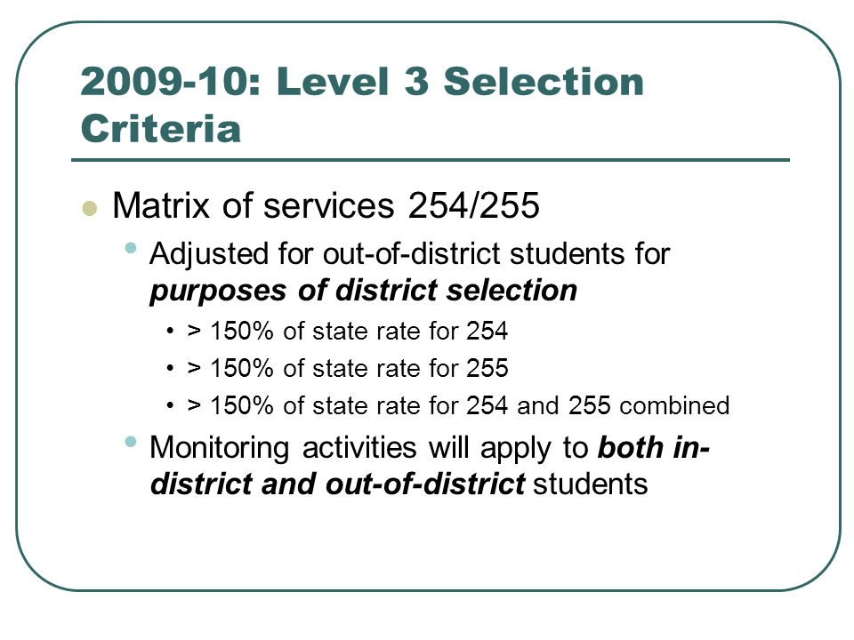 2009-10: Level 3 Selection Criteria Matrix of services 254/255 Adjusted for out-of-district students for purposes of district selection > 150% of state rate for 254 > 150% of state rate for 255 > 150% of state rate for 254 and 255 combined Monitoring activities will apply to both in- district and out-of-district students