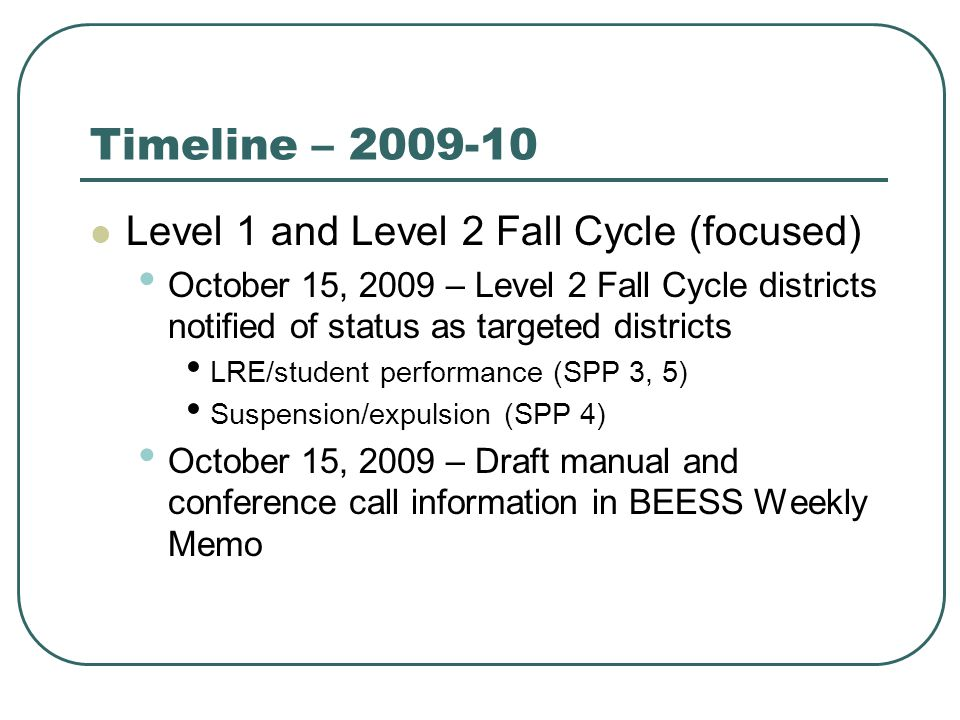 Timeline – 2009-10 Level 1 and Level 2 Fall Cycle (focused) October 15, 2009 – Level 2 Fall Cycle districts notified of status as targeted districts LRE/student performance (SPP 3, 5) Suspension/expulsion (SPP 4) October 15, 2009 – Draft manual and conference call information in BEESS Weekly Memo