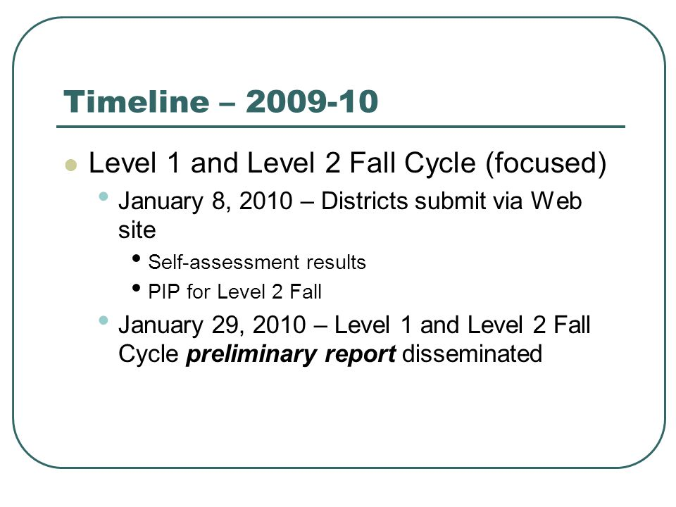 Timeline – 2009-10 Level 1 and Level 2 Fall Cycle (focused) January 8, 2010 – Districts submit via Web site Self-assessment results PIP for Level 2 Fall January 29, 2010 – Level 1 and Level 2 Fall Cycle preliminary report disseminated