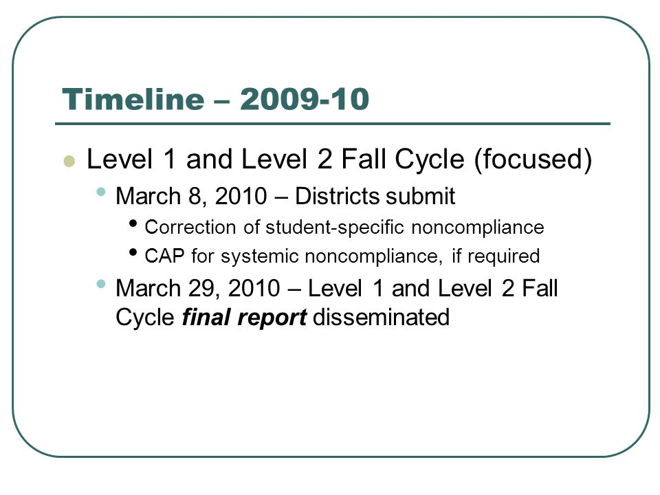 Timeline – 2009-10 Level 1 and Level 2 Fall Cycle (focused) March 8, 2010 – Districts submit Correction of student-specific noncompliance CAP for systemic noncompliance, if required March 29, 2010 – Level 1 and Level 2 Fall Cycle final report disseminated