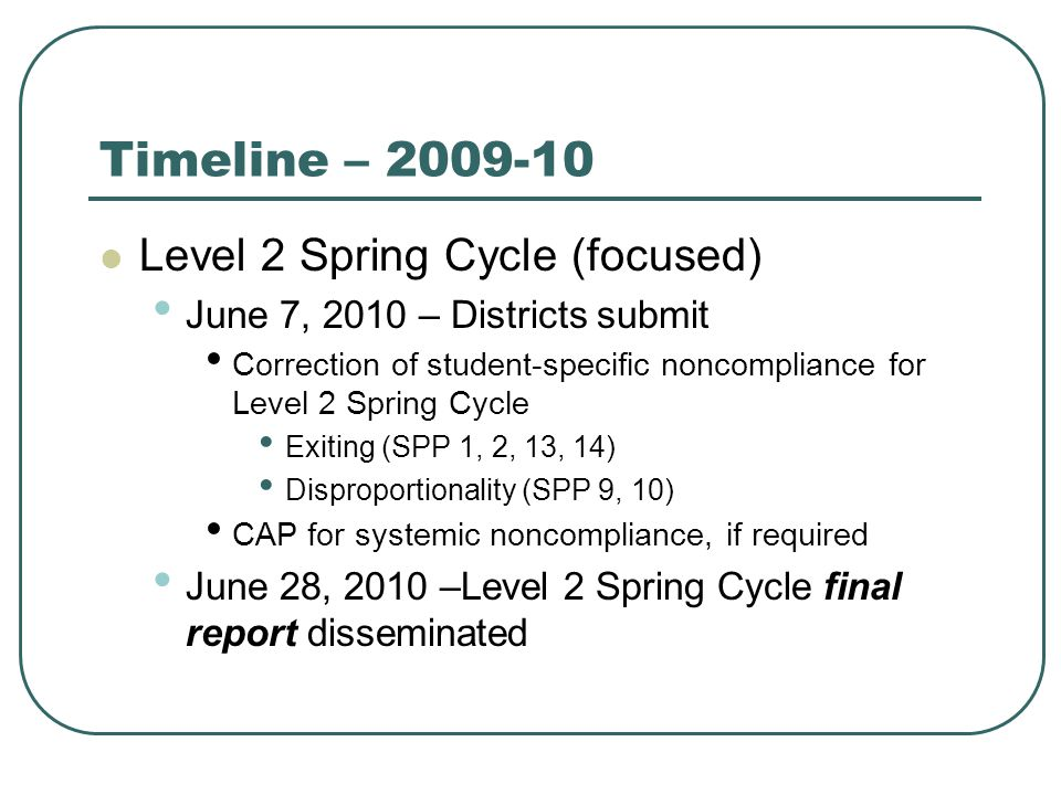 Timeline – 2009-10 Level 2 Spring Cycle (focused) June 7, 2010 – Districts submit Correction of student-specific noncompliance for Level 2 Spring Cycle Exiting (SPP 1, 2, 13, 14) Disproportionality (SPP 9, 10) CAP for systemic noncompliance, if required June 28, 2010 –Level 2 Spring Cycle final report disseminated