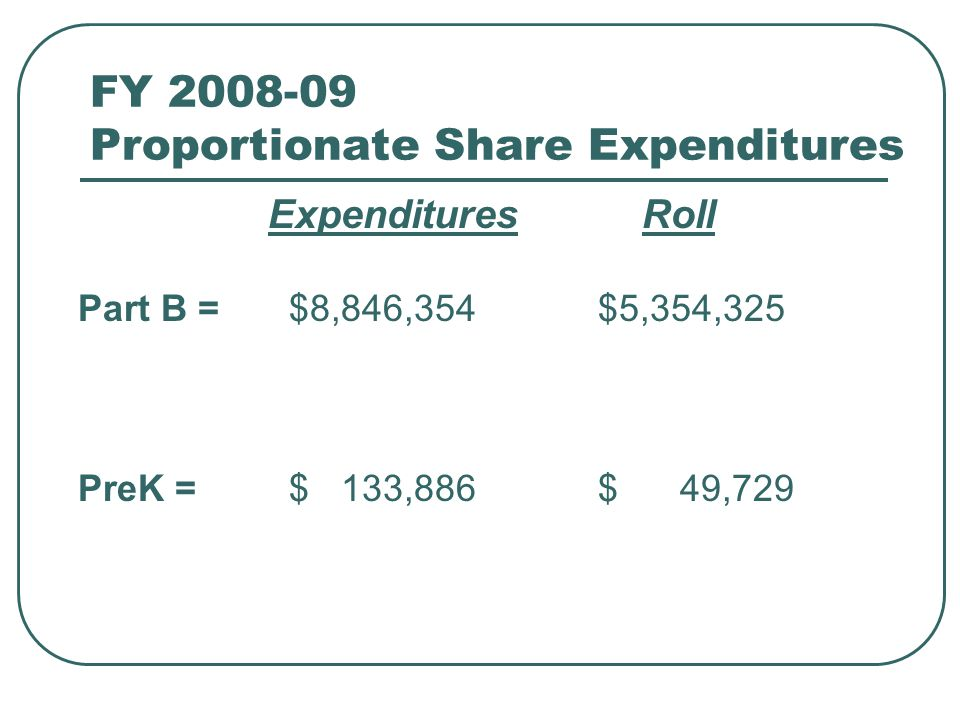 FY 2008-09 Proportionate Share Expenditures ExpendituresRoll Part B = $8,846,354 $5,354,325 PreK = $ 133,886 $ 49,729