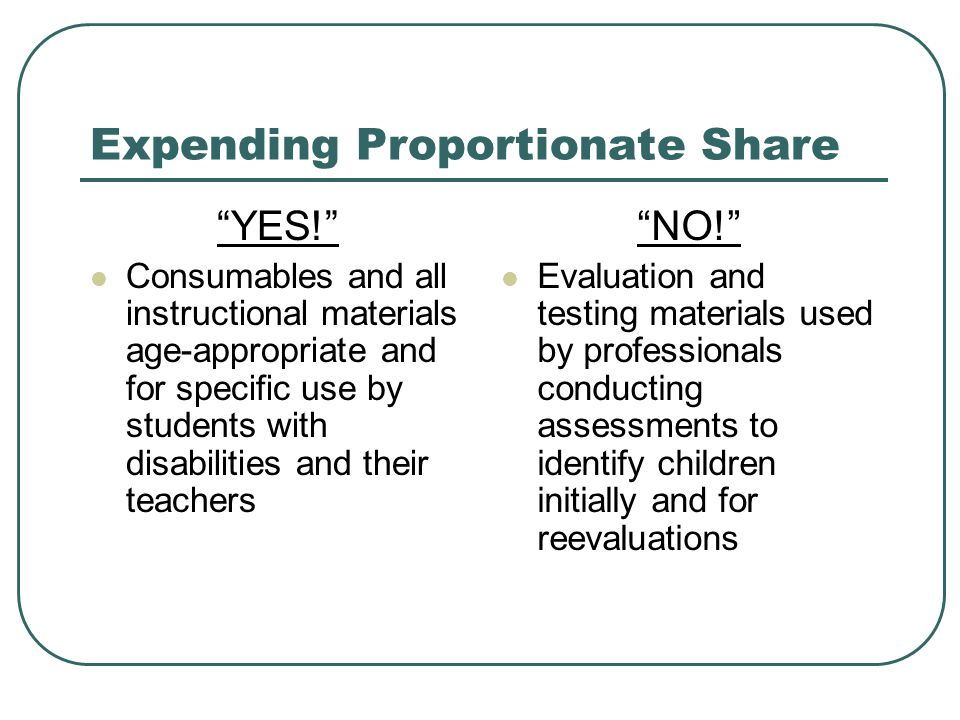 Expending Proportionate Share YES! Consumables and all instructional materials age-appropriate and for specific use by students with disabilities and their teachers NO! Evaluation and testing materials used by professionals conducting assessments to identify children initially and for reevaluations