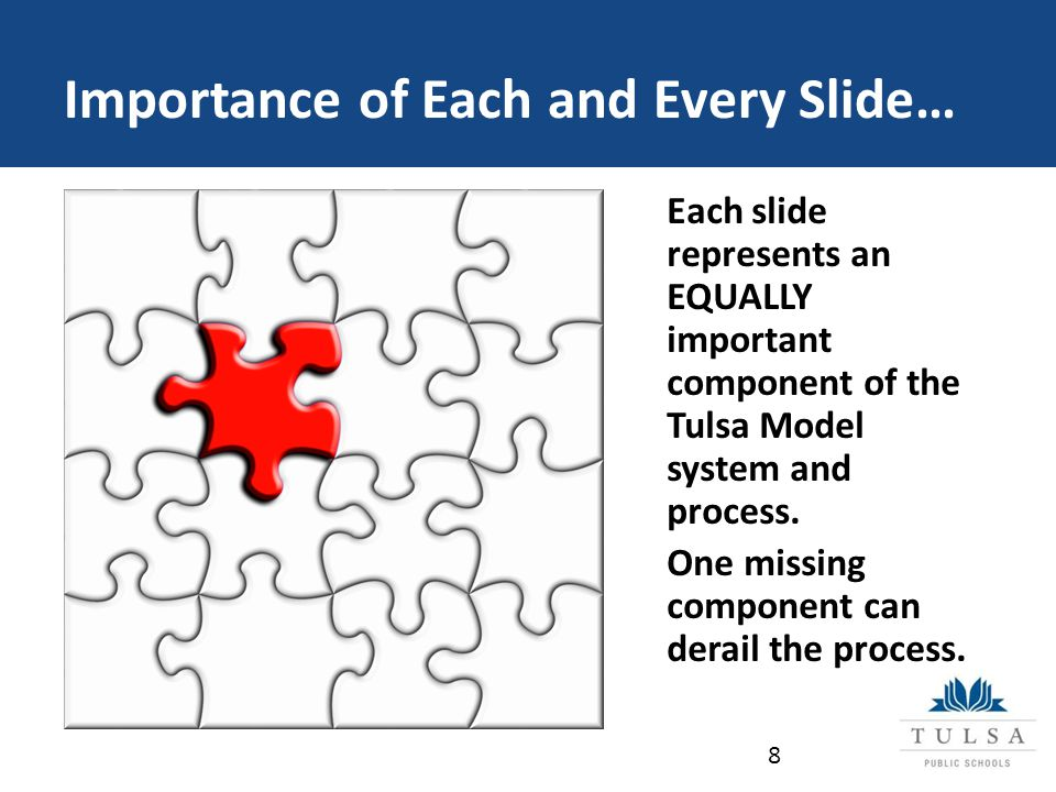Importance of Each and Every Slide… 8 Each slide represents an EQUALLY important component of the Tulsa Model system and process.