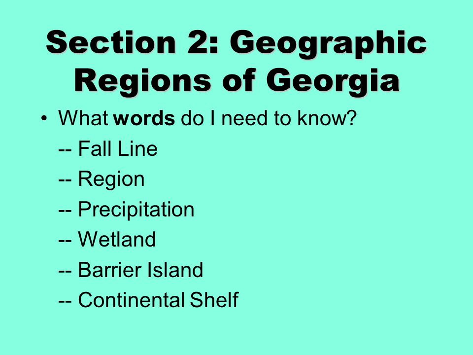 Section 2: Geographic Regions of Georgia What words do I need to know? -- Fall Line -- Region -- Precipitation -- Wetland -- Barrier Island -- Contine