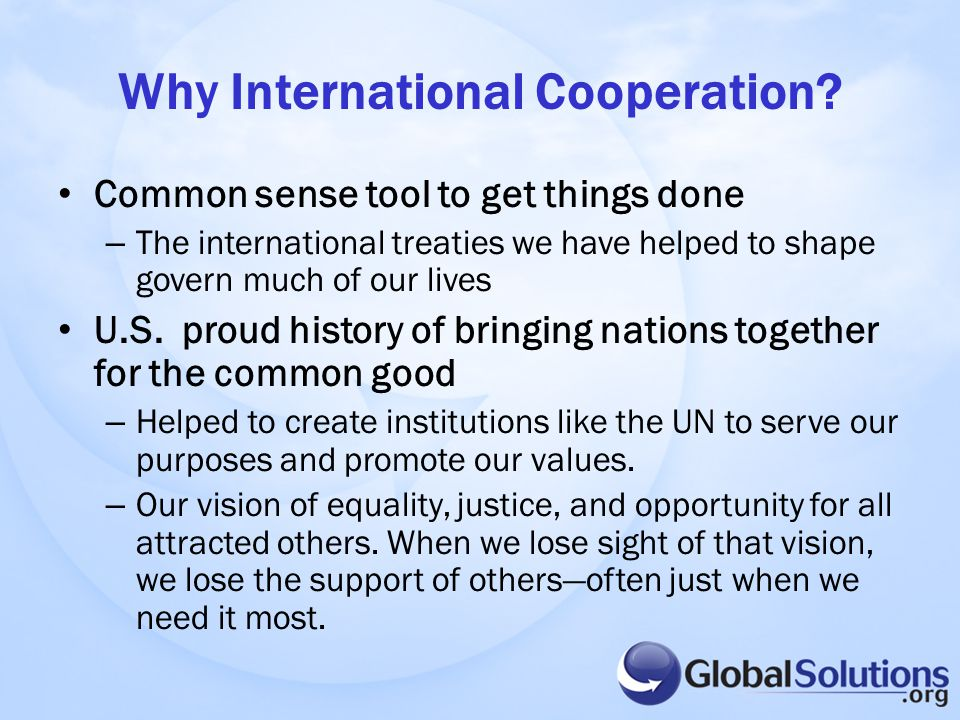 Why International Cooperation.