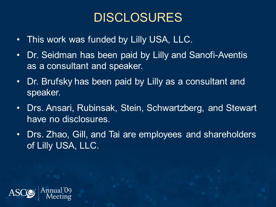 DISCLOSURES This work was funded by Lilly USA, LLC.
