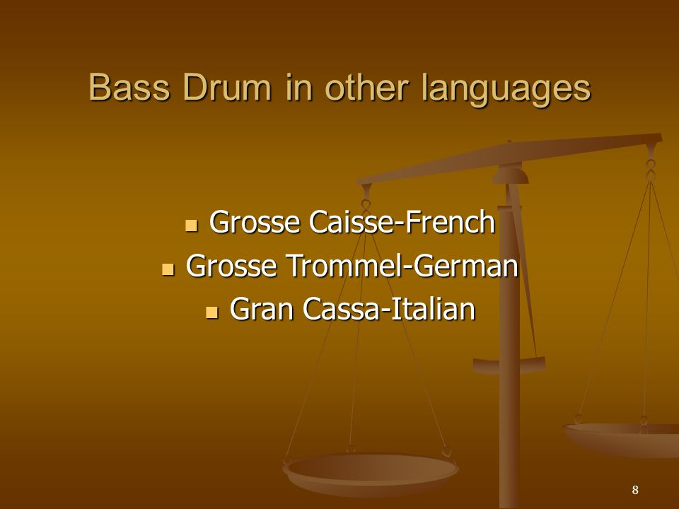 19 Cymbal in many languages Cymbales-French Becken or Tellern-German Piatti or Cinelli-Italian