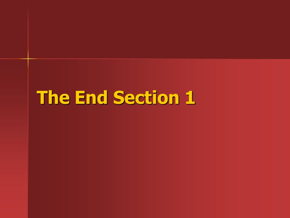The End Section 1