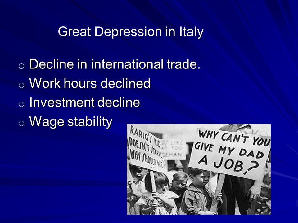 o Decline in international trade.