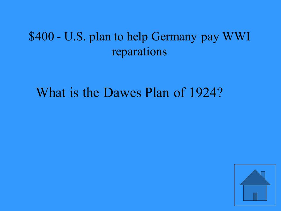 U.S. plan to help Germany pay WWI reparations USA EUROPE GERMANY