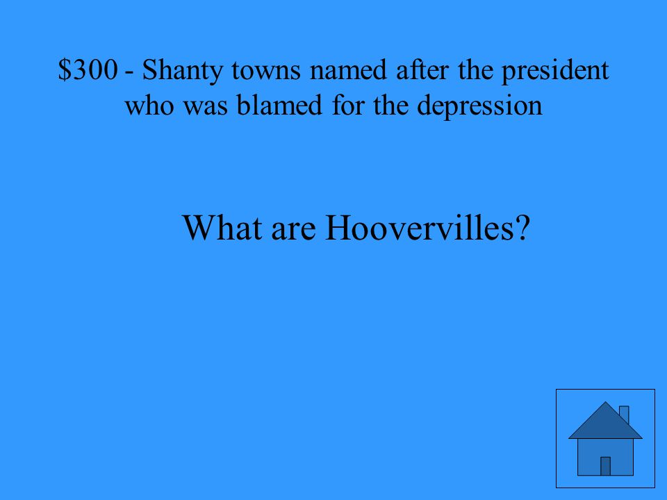 Shanty towns named after the president who was blamed for the depression