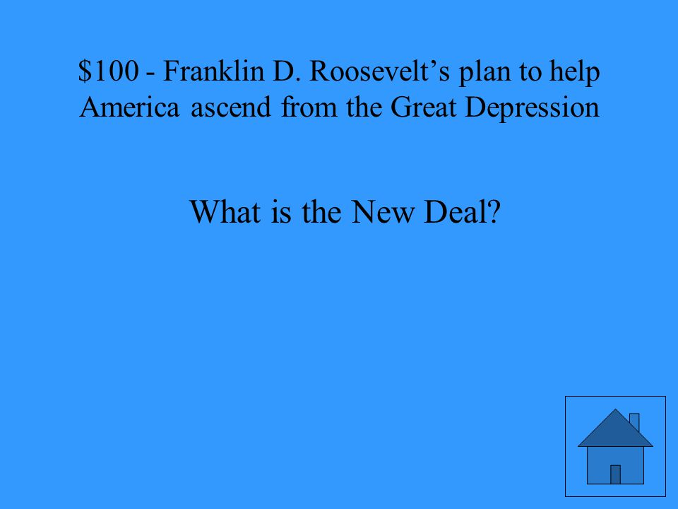 Franklin D. Roosevelt's plan to help America ascend from the Great Depression