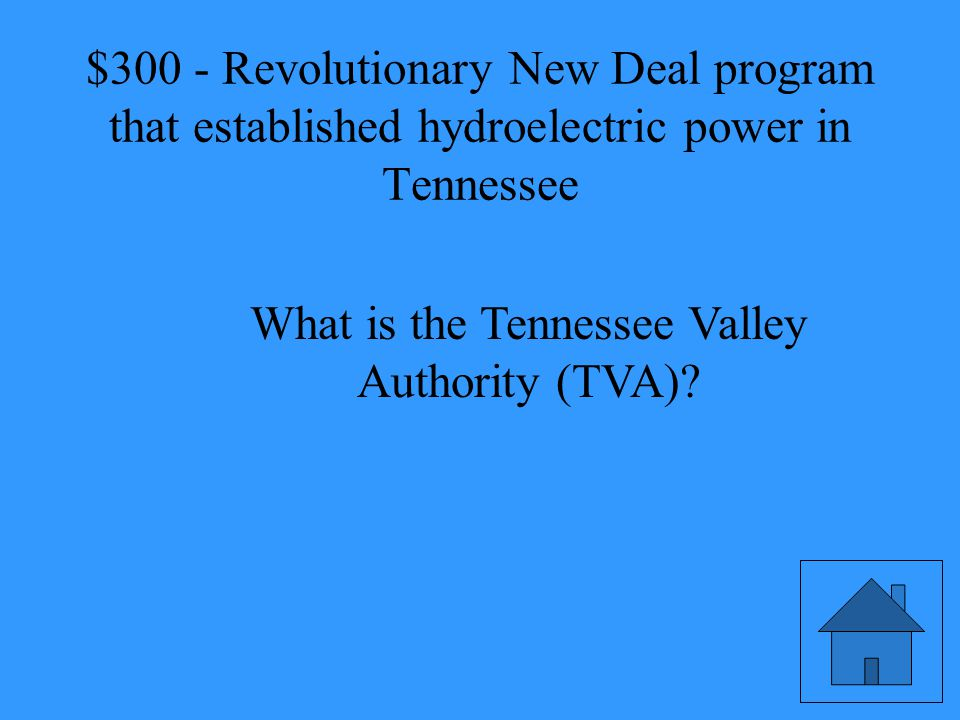 Revolutionary New Deal program that established hydroelectric power in Tennessee
