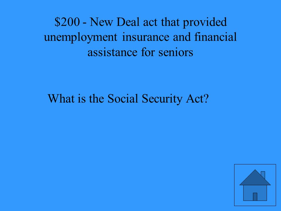 New Deal act that provided unemployment insurance and financial assistance for seniors