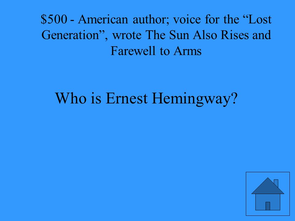 American author; voice for the Lost Generation , wrote The Sun Also Rises and Farewell to Arms