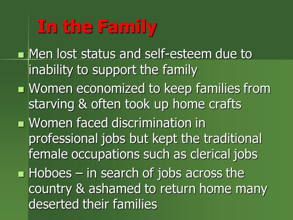 In the Family Men lost status and self-esteem due to inability to support the family Men lost status and self-esteem due to inability to support the f