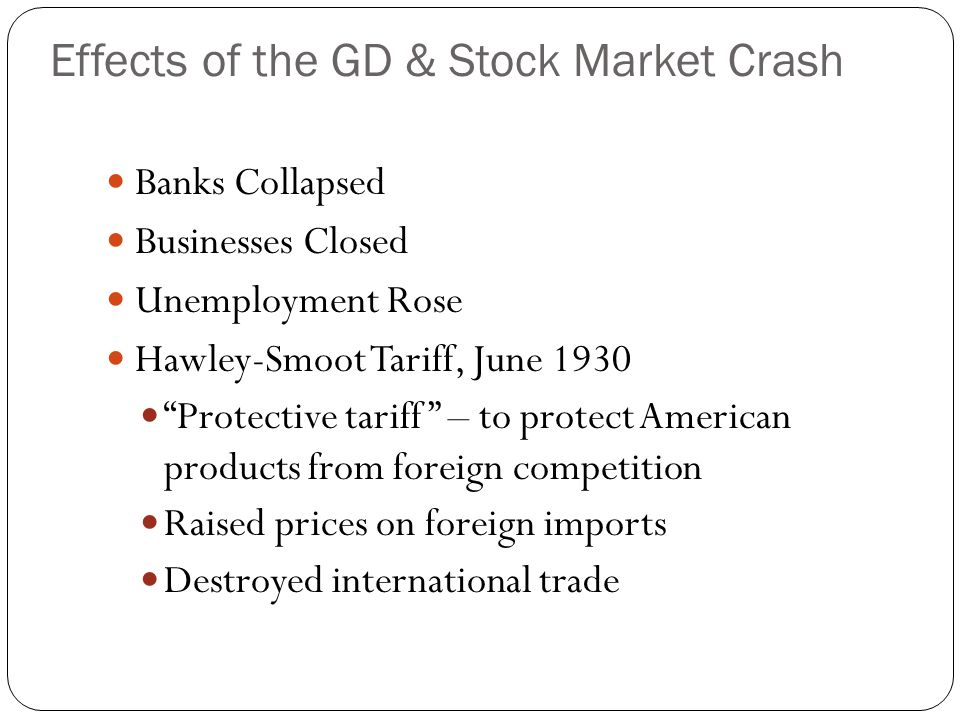 "Banks Collapsed Businesses Closed Unemployment Rose Hawley-Smoot Tariff, June 1930 ""Protective tariff"" – to protect American products from foreign com"