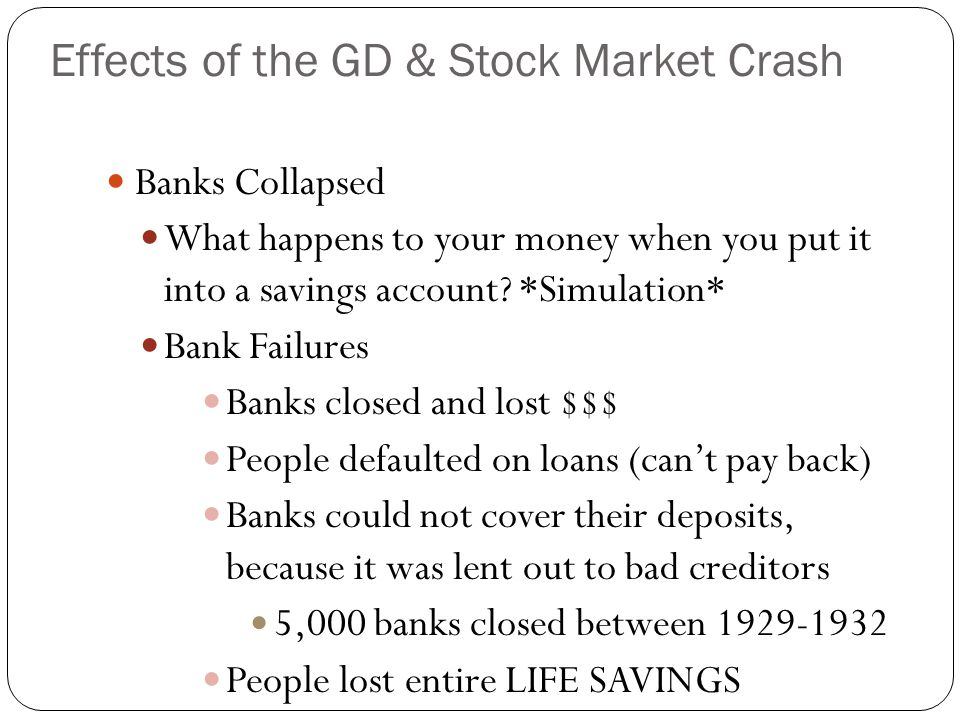 Banks Collapsed What happens to your money when you put it into a savings account? *Simulation* Bank Failures Banks closed and lost $$$ People default