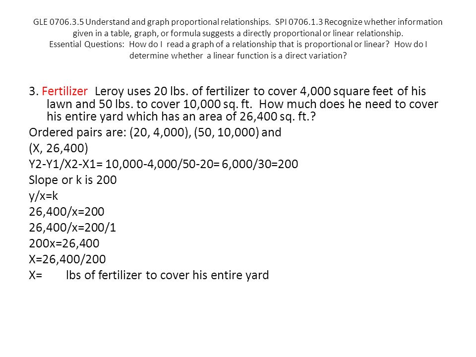 GLE 0706.3.5 Understand and graph proportional relationships.