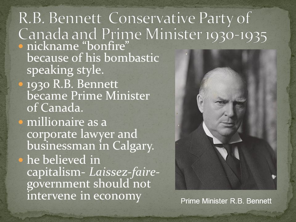Passed reciprocal trade with US- increase trade Lowered Tariff- increased trade National Housing Act – government subsidy for housing National Employment Commission- jobs and relief for the unemployed 1938, he transformed the Bank of Canada from a private entity to a crown corporation IN the end only WWII got Canada out of the Depression
