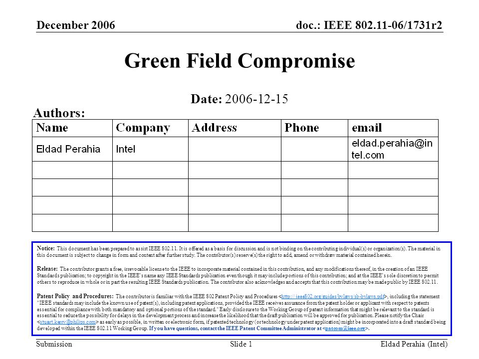 doc.: IEEE 802.11-06/1731r2 Submission December 2006 Eldad Perahia (Intel)Slide 1 Green Field Compromise Notice: This document has been prepared to assist IEEE 802.11.