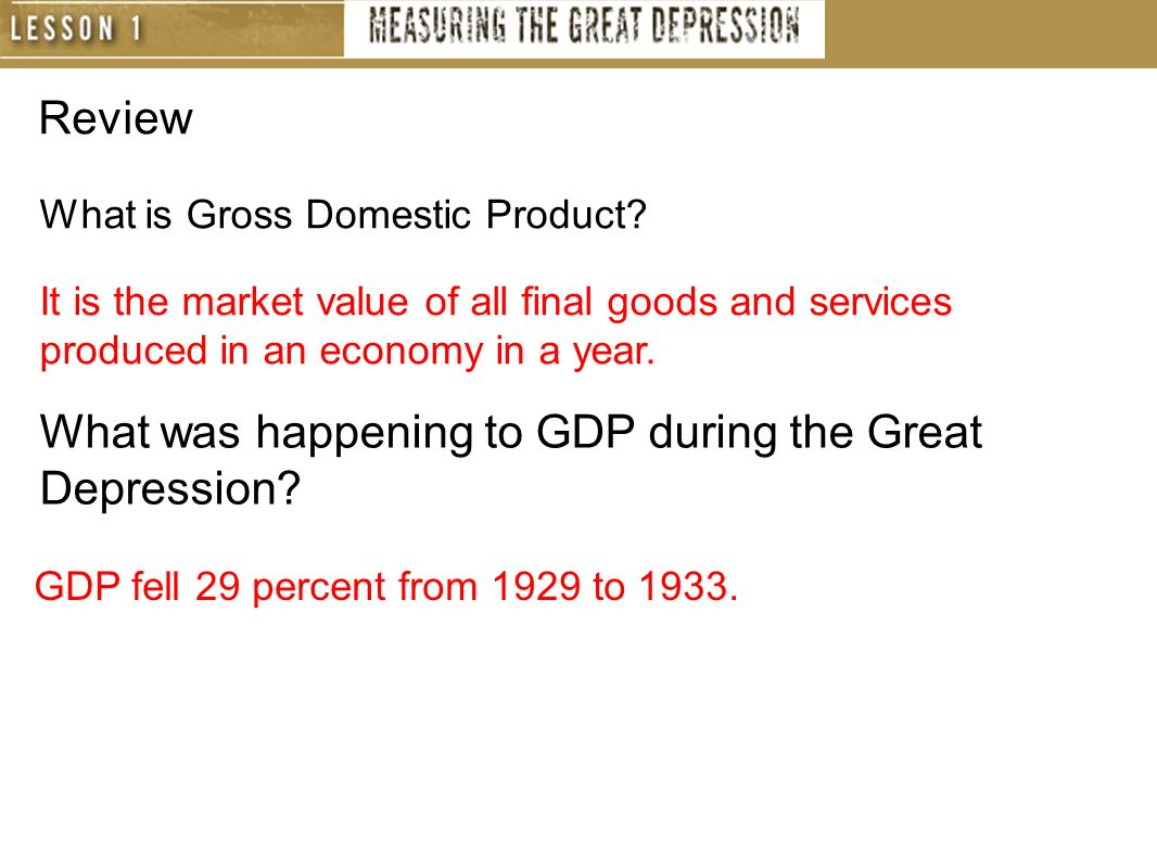 Review What is Gross Domestic Product.