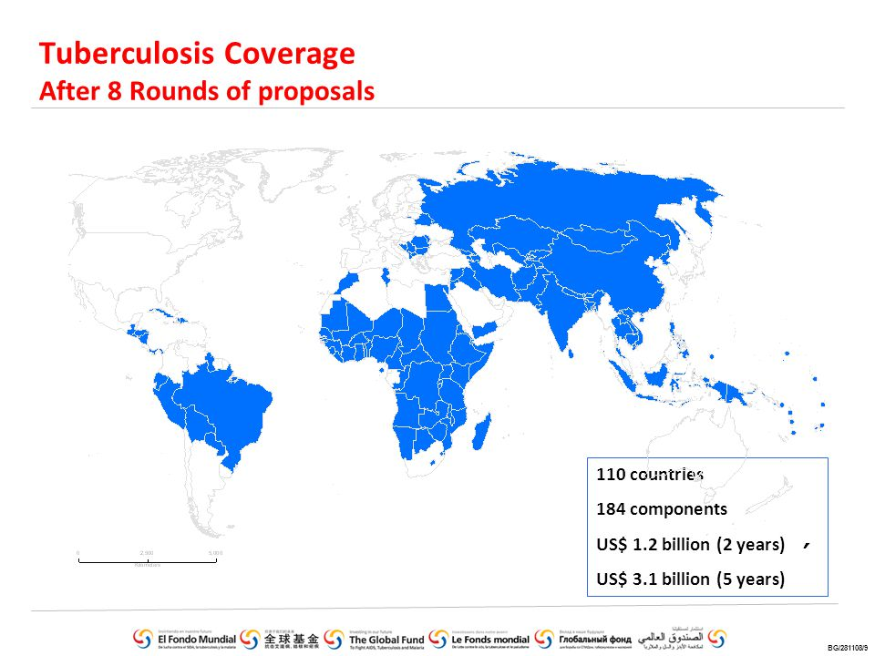 Tuberculosis Coverage After 8 Rounds of proposals 110 countries 184 components US$ 1.2 billion (2 years) US$ 3.1 billion (5 years) BG/281108/9