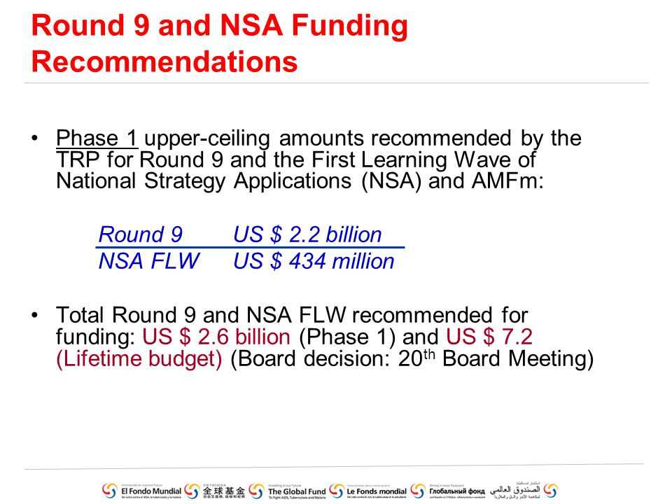 Round 9 and NSA Funding Recommendations Phase 1 upper-ceiling amounts recommended by the TRP for Round 9 and the First Learning Wave of National Strat