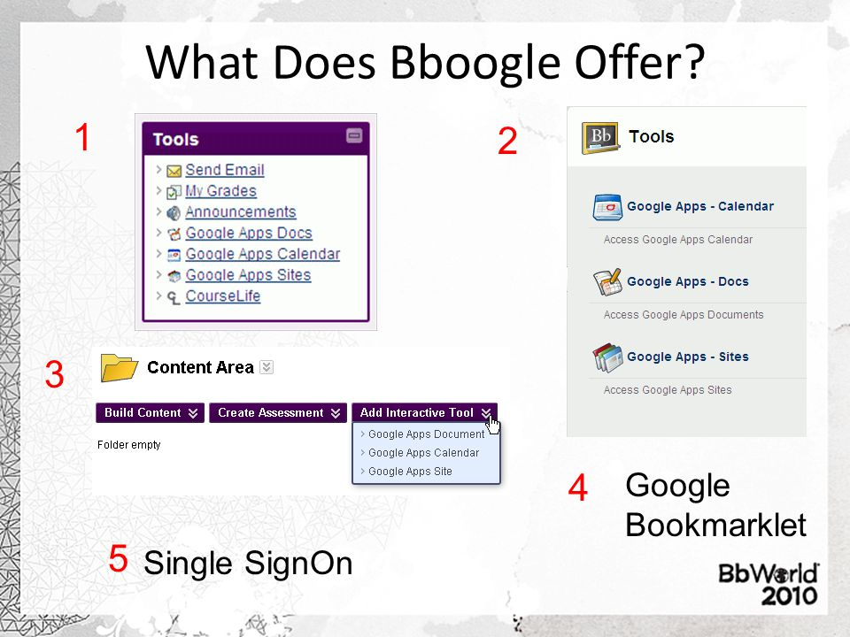 What Does Bboogle Offer 1 2 3 Google Bookmarklet 4 Single SignOn 5