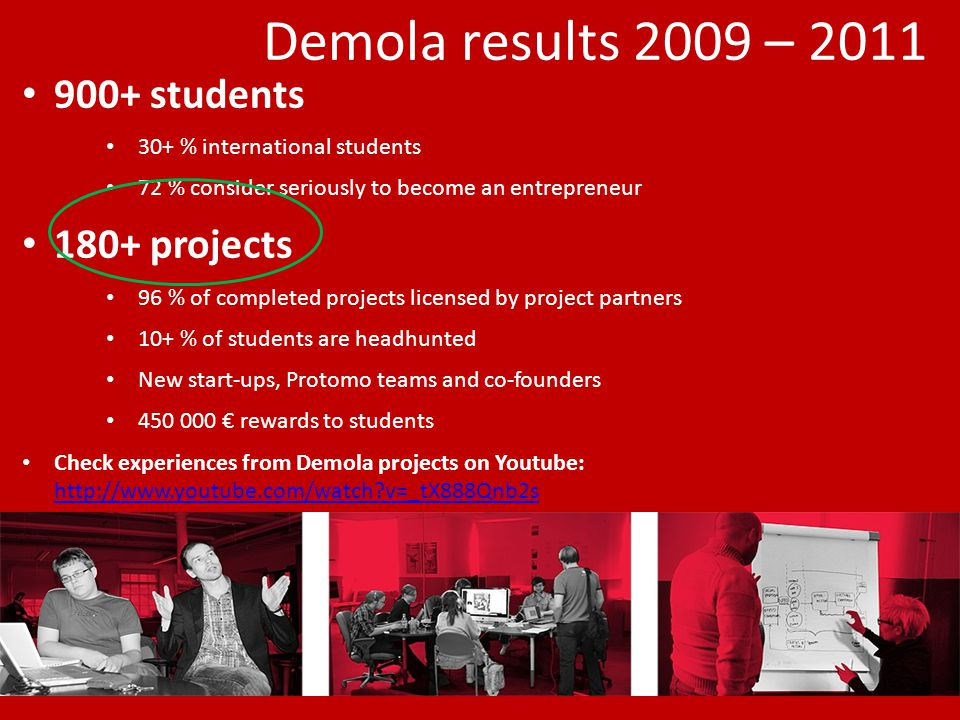 Demola results 2009 – 2011 900+ students 30+ % international students 72 % consider seriously to become an entrepreneur 180+ projects 96 % of completed projects licensed by project partners 10+ % of students are headhunted New start-ups, Protomo teams and co-founders 450 000 € rewards to students Check experiences from Demola projects on Youtube: http://www.youtube.com/watch v=_tX888Qnb2s http://www.youtube.com/watch v=_tX888Qnb2s