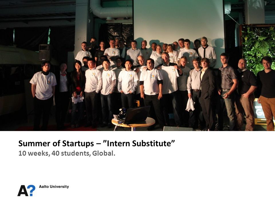 Summer of Startups – Intern Substitute 10 weeks, 40 students, Global.