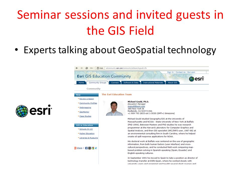 Seminar sessions and invited guests in the GIS Field Experts talking about GeoSpatial technology