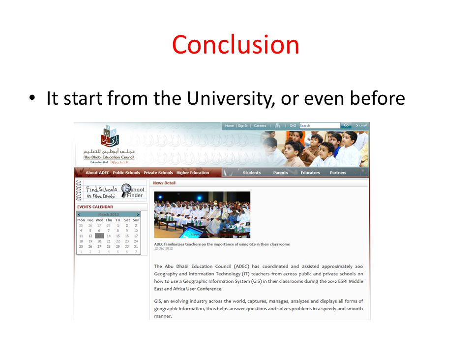 Conclusion It start from the University, or even before