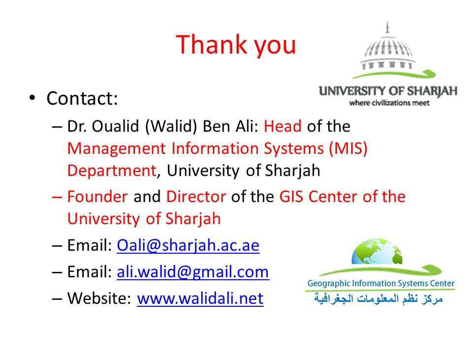 Thank you Contact: – Dr.