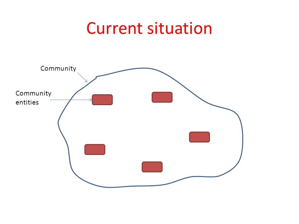 Current situation Community Community entities