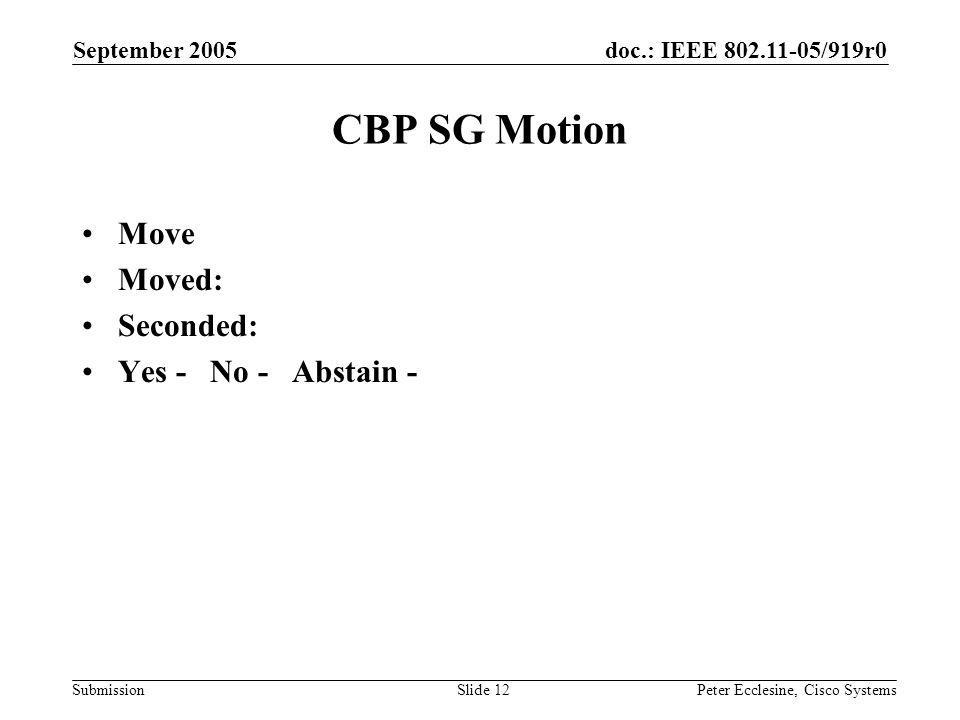 doc.: IEEE 802.11-05/919r0 Submission September 2005 Peter Ecclesine, Cisco SystemsSlide 12 CBP SG Motion Move Moved: Seconded: Yes - No - Abstain -