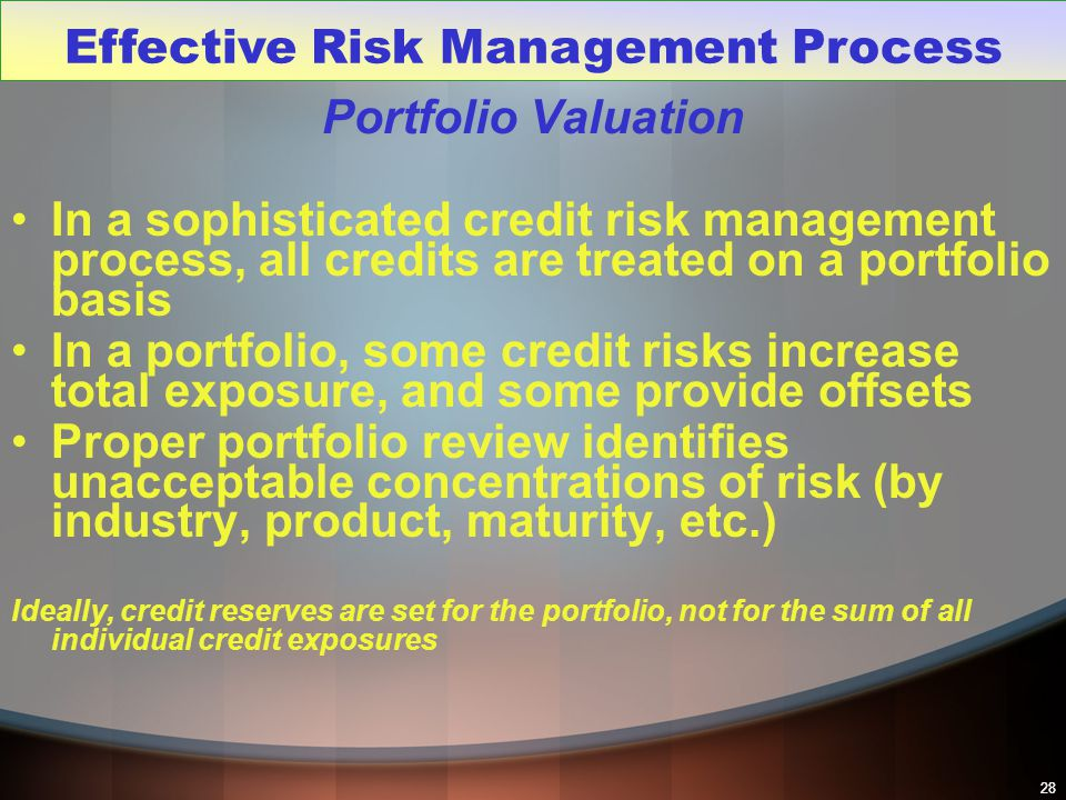 28 Portfolio Valuation In a sophisticated credit risk management process, all credits are treated on a portfolio basis In a portfolio, some credit ris