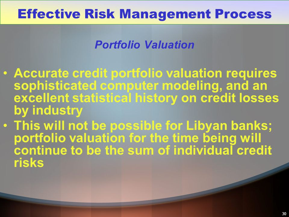 30 Portfolio Valuation Accurate credit portfolio valuation requires sophisticated computer modeling, and an excellent statistical history on credit lo