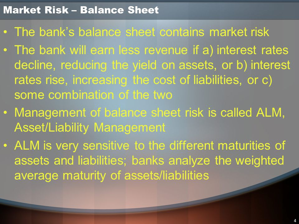 5 Market Risk - Trading Trading is the buying and selling of financial instruments carrying market risk, such as equities, commodities, foreign exchange, bonds, and derivatives Trading risk usually arises when the bank fills a customer's buy or sell order for a financial instrument, but the bank can initiate trading risk for its own account as well Trading risk is managed through Value at Risk