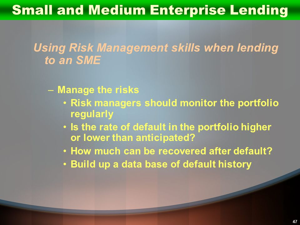 47 Using Risk Management skills when lending to an SME –Manage the risks Risk managers should monitor the portfolio regularly Is the rate of default i